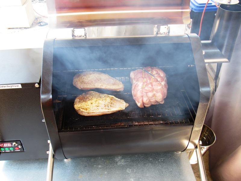 Smoked Apple Stuffed Pork Loin and Chicken Breasts