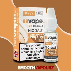 88 Vape Nic Salt Orange and Pineapple Punch - smooth vapourz