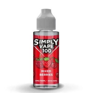 Simply Vape 100 - 100ml e-liquid Vape juice - Mixed Berries - Smooth Vapourz