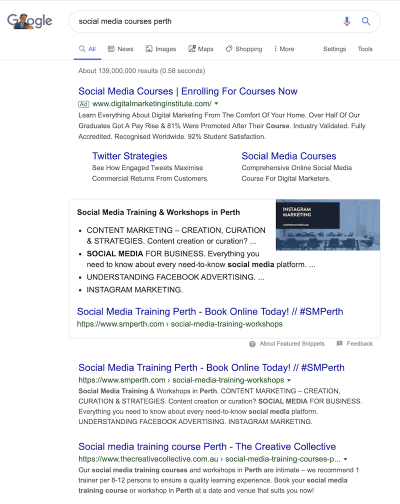 SM Perth Featured Snippet