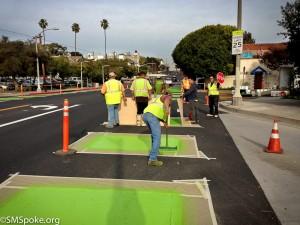 Ocean Park Blvd, Green Lanes in progress