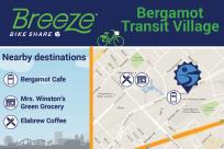 Bergamot Transit Village connects to Bergamot Cafe, Mrs. Winston's Green Grocery, Elabrew Coffee