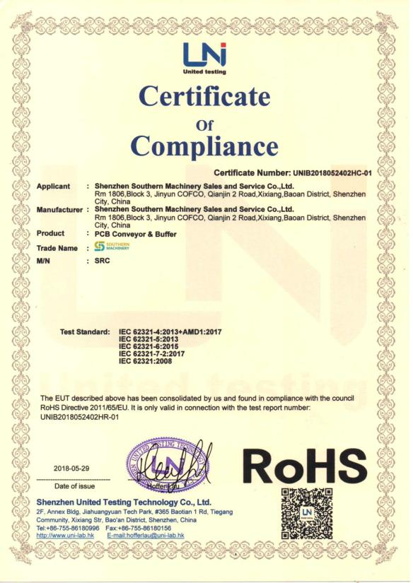 Our southern machinery has passed CE, ROHS certification