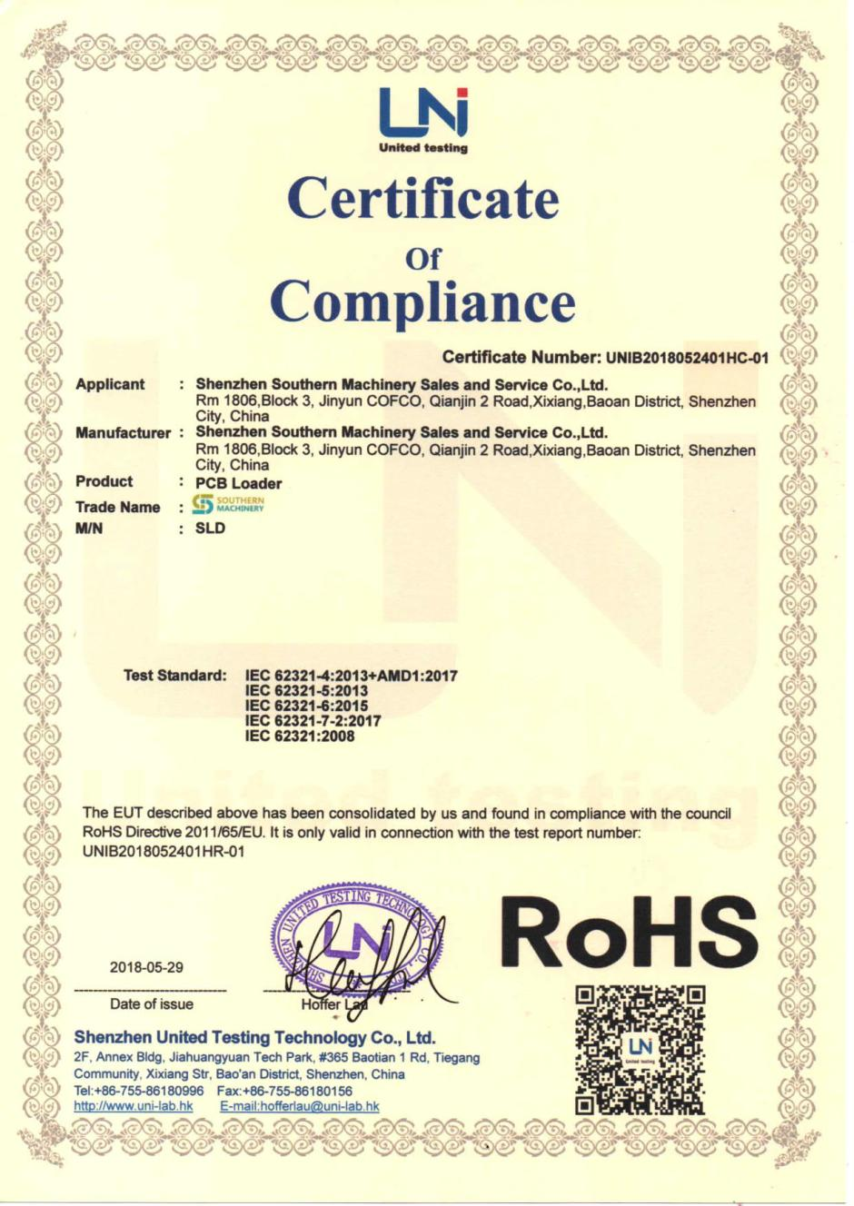 Our southern machinery has passed CE, ROHS certification | SMTHELP