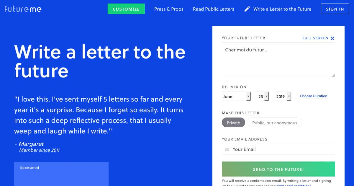 S'écrire un message dans le futur