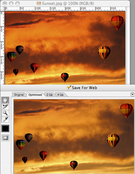 Photoshop guesses you'd like to see just how washed-out your photos will look on the web