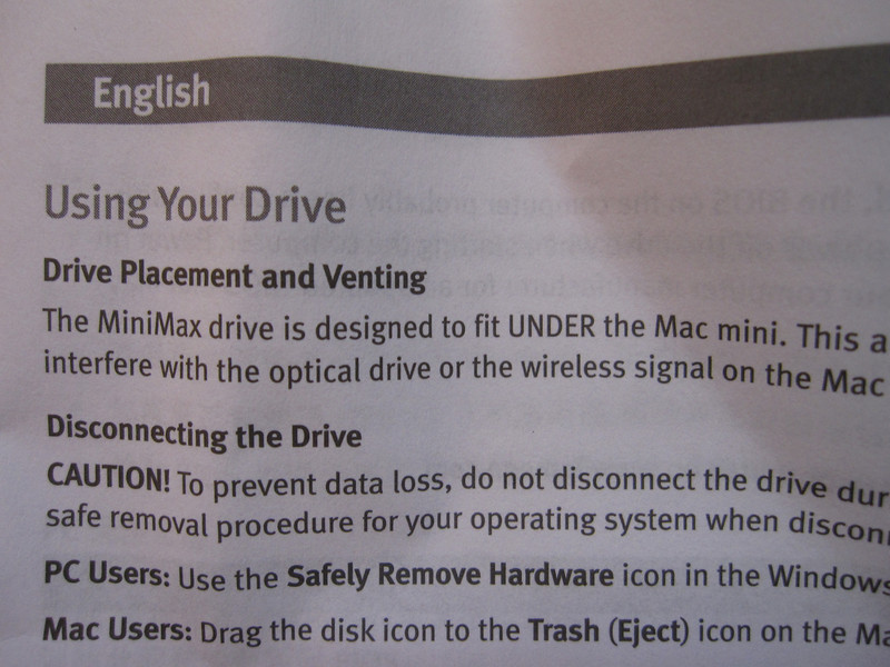 Iomega Mini Max 1 TB Hard Disk Instructions