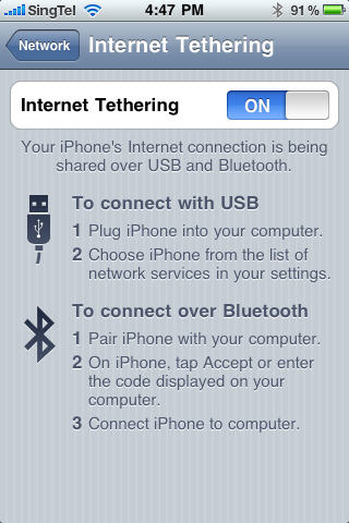 iPhone Internet Tethering Set Up