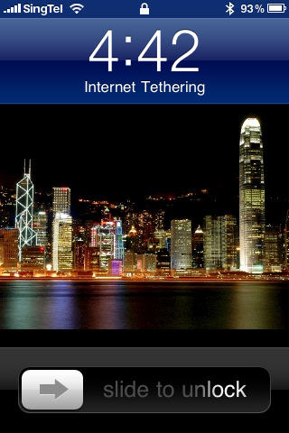 iPhone Internet Tethering in Progress