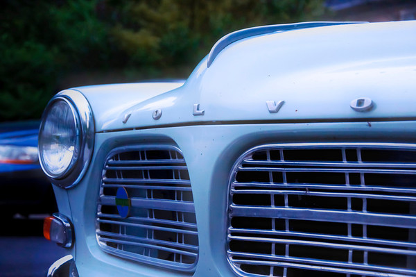 The front grille of an old Volvo.