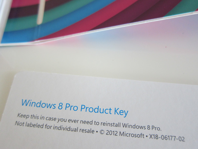 Windows 8 Pro Retail Box Product Key Card