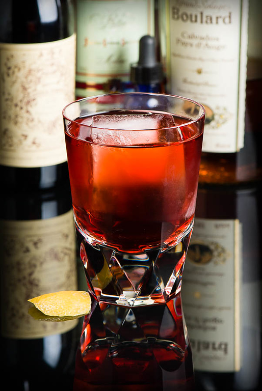 The Normandie Cocktail, an apple brandy riff on the classic Negroni. Photo © 2014 Douglas M. Ford. All rights reserved.