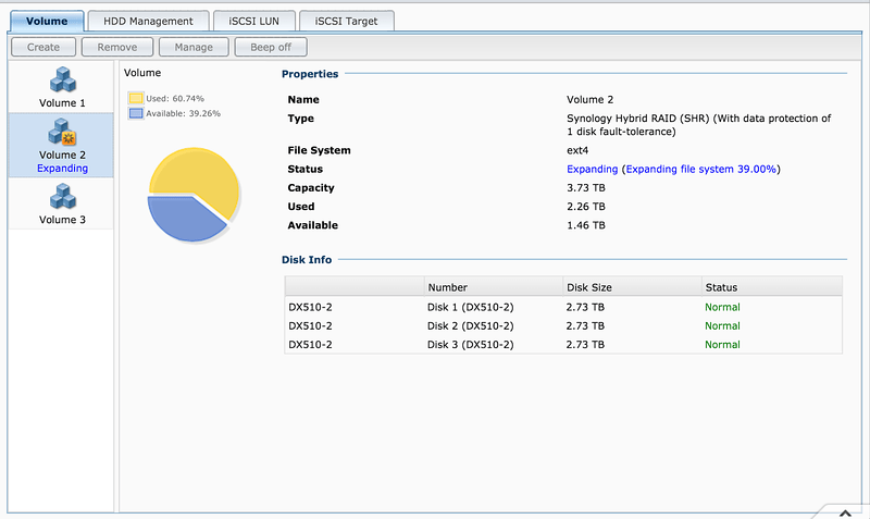Expanding File System in Synology