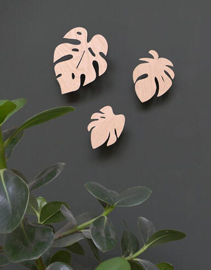 Houten wandhaak – Monstera leafs - 2