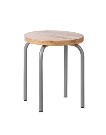Kidsdepot - Set van 2 ronde krukjes circle - hout metaal grijs