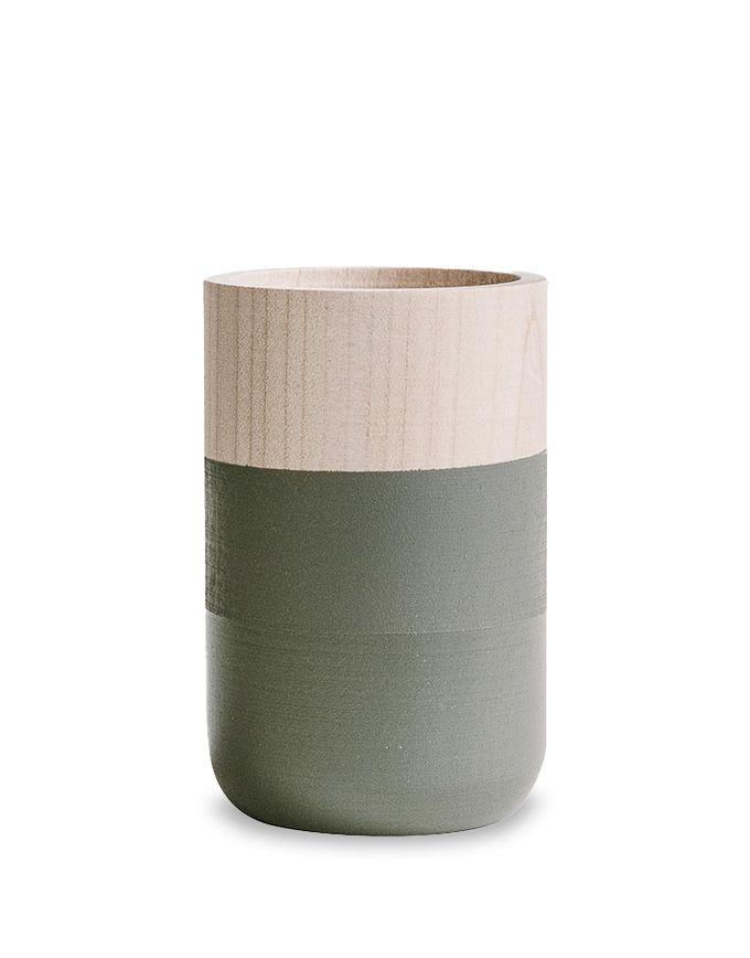 Klein houten vaasje - Moody - Grey