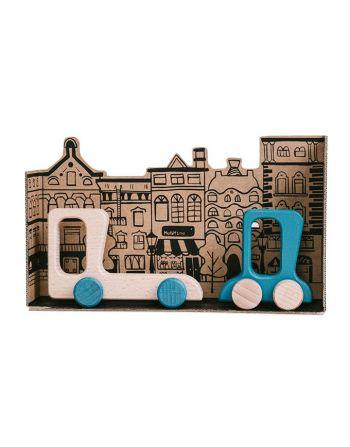 Speelset 2 houten auto's - Blauw