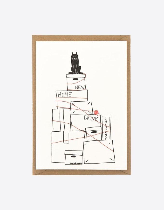 "Letterpress wenskaart ""Moving the cat"""