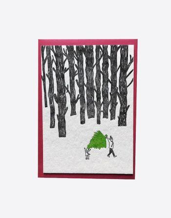 "Letterpress wenskaart ""Carrying a Christmas Tree"""