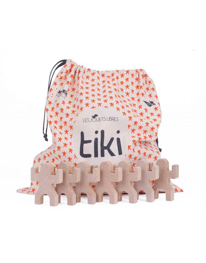 Tas met 40 houten speel- en balanceerfiguren Tiki