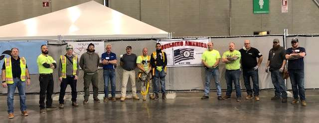 Local 17 members at BCEC Temporary Hospital. From left: Ray Martin, Mark Blouin, Michael Burke, John Burke, Peter Kelly, John Bean, Jim Martinelli, Kevin Courtney, Dave Mulligan, Paul Conners, Jamie Curtin, Dan Morency, and Ed Crosby.