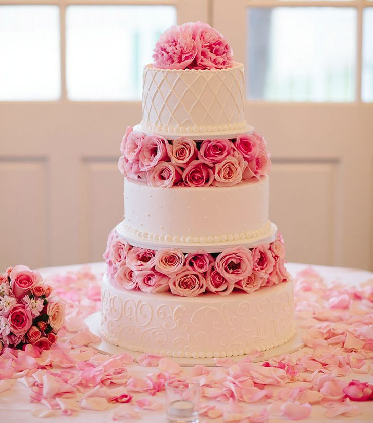 Pink And White Wedding Cakes   Wedding Cake Flavors     white wedding cake      pink wedding cake