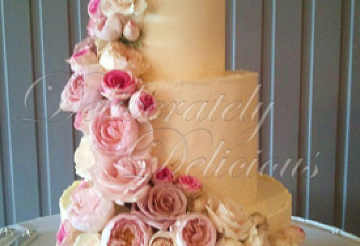 9 Icing With Cascading Flowers Wedding Cakes Photo 3 Tier Wedding