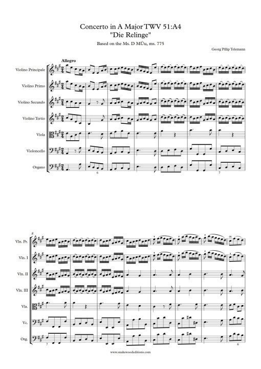 Telemann violin concerto Frogs score and parts