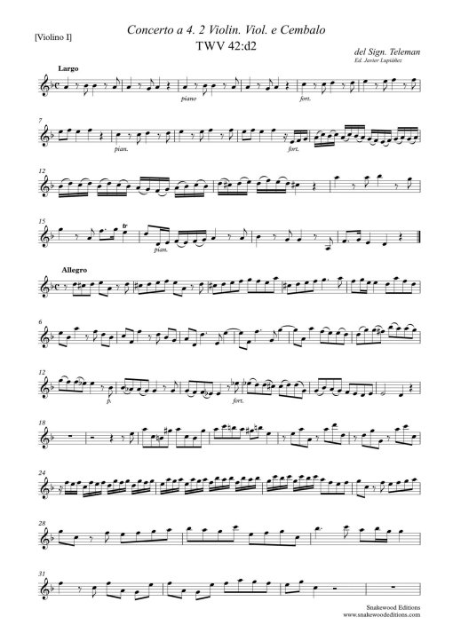 Telemann Concerto a 4 TWV 43:d2 (Score and parts PDF)