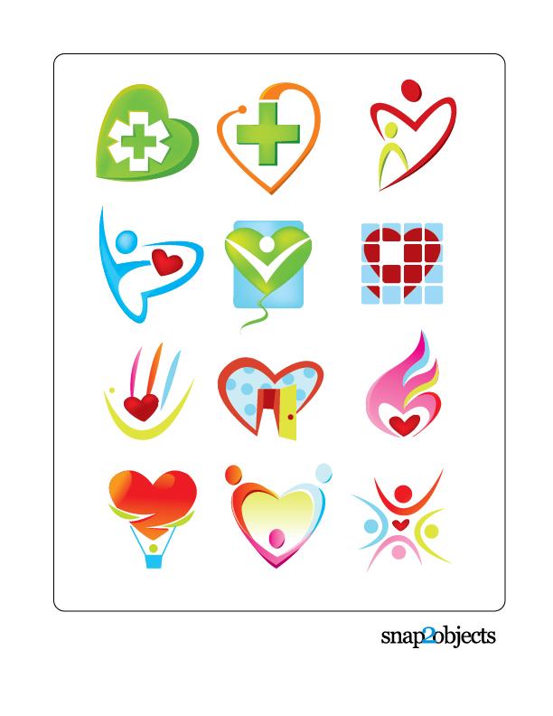 Free Vector Heart Shaped Logo Templates | snap2objects