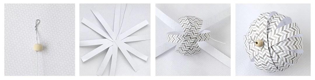 bola navideña con tiras de papel