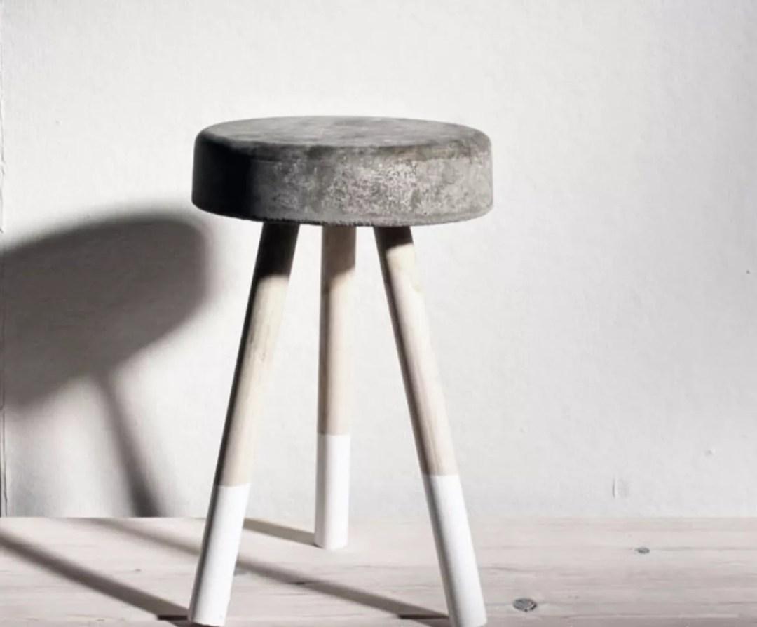 DIY taburete de cemento y madera