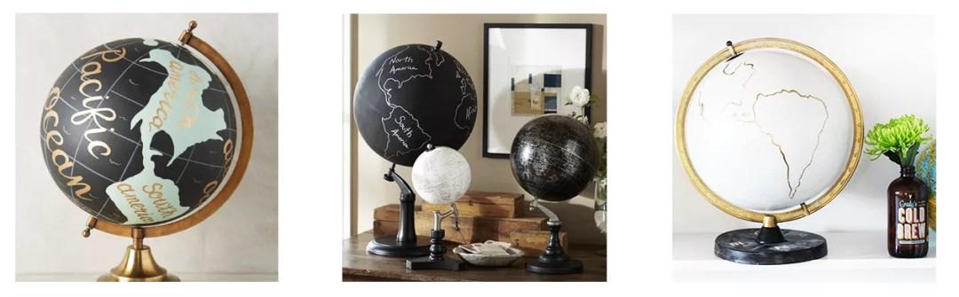 DIY pizarra con globo terráqueo