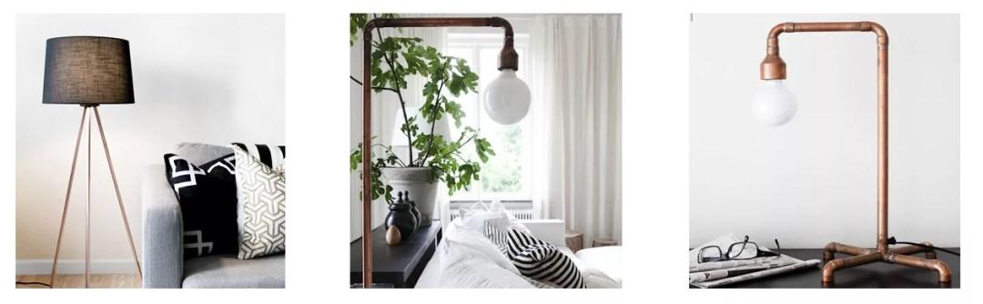 Lámpara DIY con tubos de cobre
