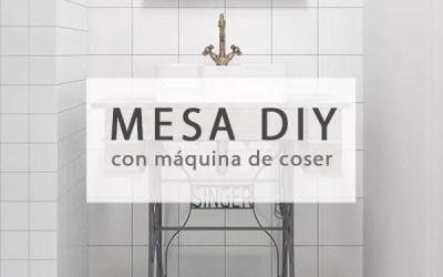 DIY MESA CON ANTIGUA MÁQUINA DE COSER