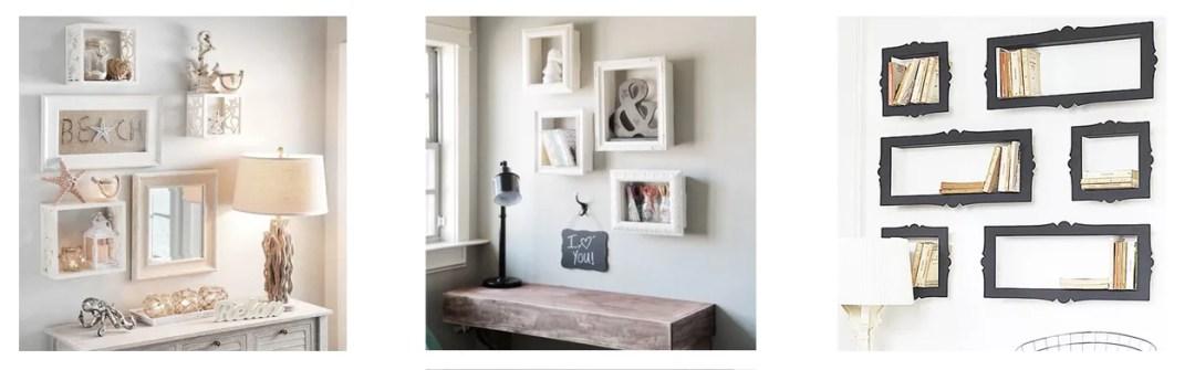 estantería DIY con marcos