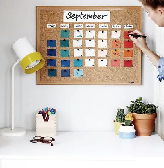 Calendario diy con corcho