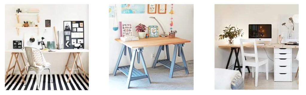 mesa de escritorio con caballetes