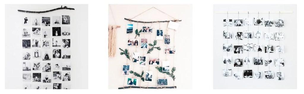 Colgador para fotos con madera