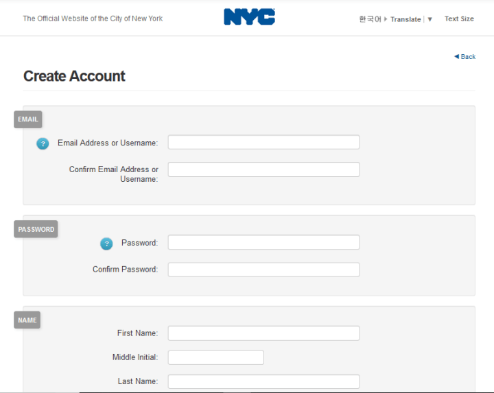 create NYC ACCESS HRA account