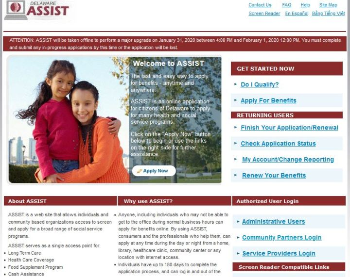 Delaware Assist Login