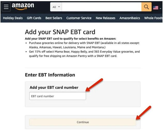 Pay With SNAP EBT on Amazon