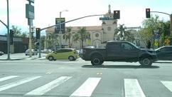 Architecture, Asphalt, Automobile, Building, Car, City, Downtown, Freeway, Highway, Human, Intersection, Light, Metropolis, Neighborhood, Pedestrian, Person, Pickup Truck, Road