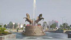 Water, Animal, Dinosaur, Reptile, Fountain, Human, Person, Boat, Transportation, Vehicle, Art, Sculpture, Statue, Mammal, Wildlife