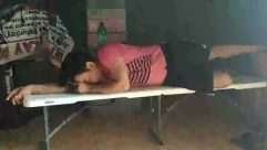 Furniture, Asleep, Sleeping, Person, Bench, Park Bench, Head, Sitting, Cushion, Pillow, Floor, Female, Girl, Art