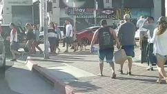 Person, Pedestrian, Clothing, Shorts, Apparel, Path, Vehicle, Automobile, Car, Transportation, Walking, Road, Sidewalk, Pavement, Town