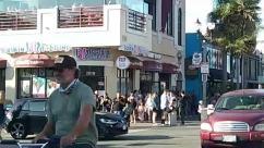 Person, Pedestrian, Car, Automobile, Vehicle, Transportation, Sedan, Apparel, Clothing, Bicycle, Bike, Urban, Town, Street, Road