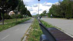 Person, Road, Building, City, Street, Town, Urban, Path, Bicycle, Bike, Transportation, Vehicle, Plant, Vegetation, Airplane