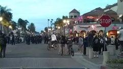 Pedestrian, Bicycle, Bike, Vehicle, Crowd, Road, Cyclist, Automobile, Car, Police, People, Urban, Building, huntington beach, Protest, george floyd