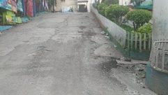 Street, Road, Building, City, Town, Concrete, Alleyway, Alley, Fence, Tar, Slate, Path, Neighborhood, Housing, Puddle